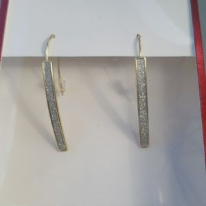 14KT Gold Flash Glitter Stick Earrings